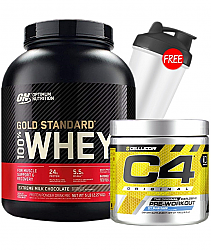 Optimum Nutriton Gold Standard 100% Whey + Cellucor C4 stack