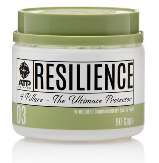 A green and white container of Resilience by ATP Science