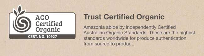 Amazonia protein is ACO certified organic
