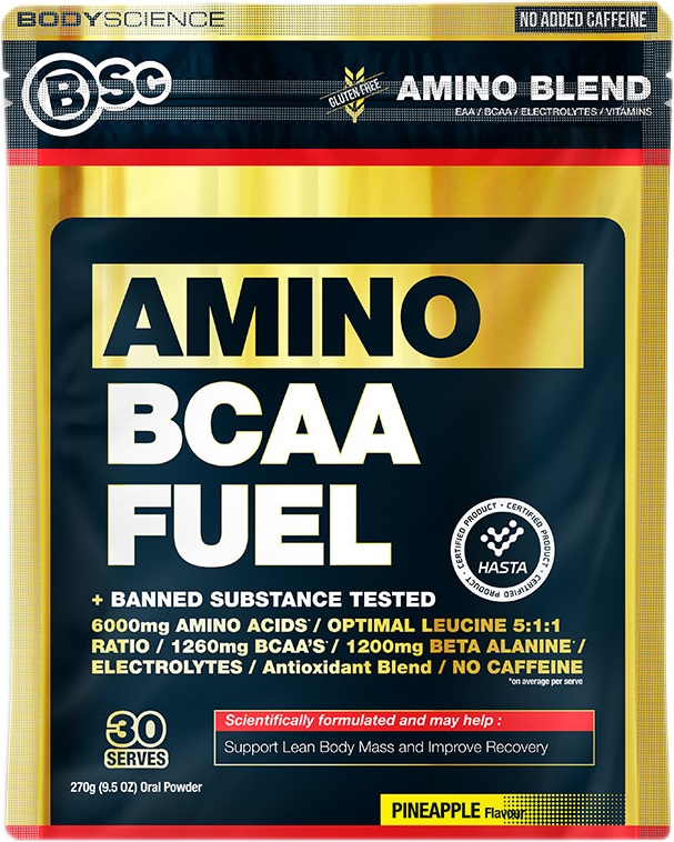BCAA Fuel gold and black bag