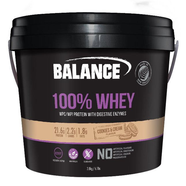 balance 100% whey protein cookies and cream flavour