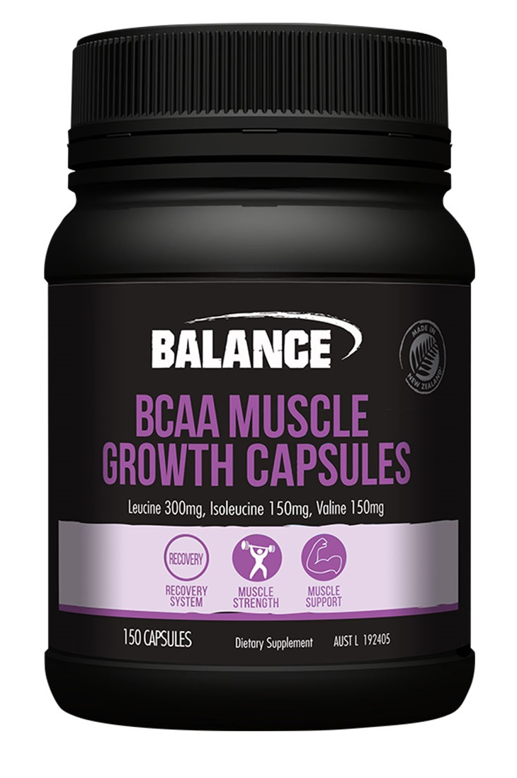 a black container of balance BCAA capsules
