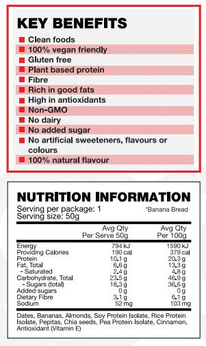 Nutritional Information for Body science clean bars