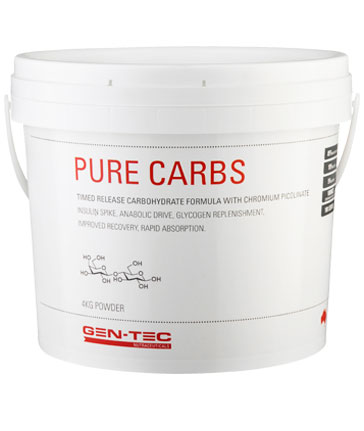 gen-tec pure carbs white bucket with red writing on label