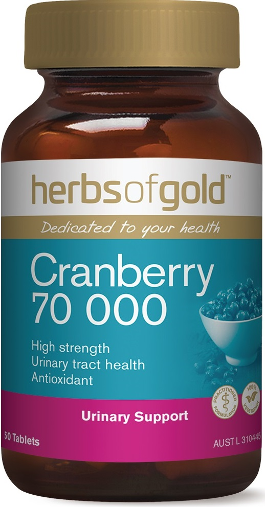 a blue and brown container of cranberry tablets