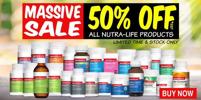 Nutra-Life Vitamins on sale banner