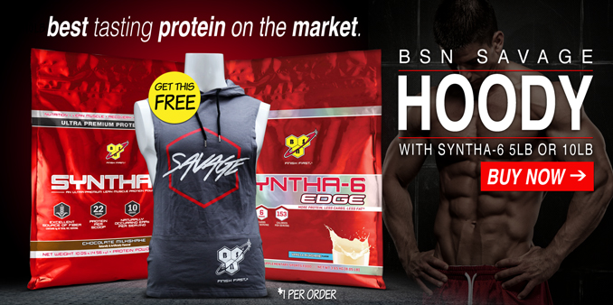 BSN Savage Hoodie with 5lb or 10lb Syntha-6 or Syntha 6 Edge