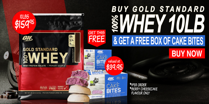 FREE Box of CakeBites with Optimum Nutrition GS 100% Whey 10lbs Deal