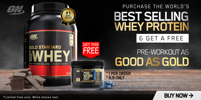 Free Optimum Nutrition Gold Standard Pre 5 serves with Optimum Whey 5lbs
