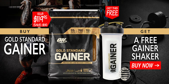 Free Gainer Shaker with Optimum Gold Standard Gainer