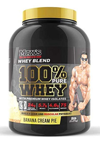 a tub of maxs 100% whey banana flavour