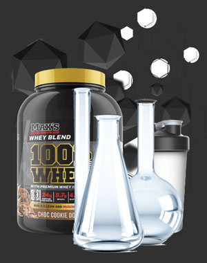 a tub of maxs 100% whey protein surrounded by glass beakers and test tubes