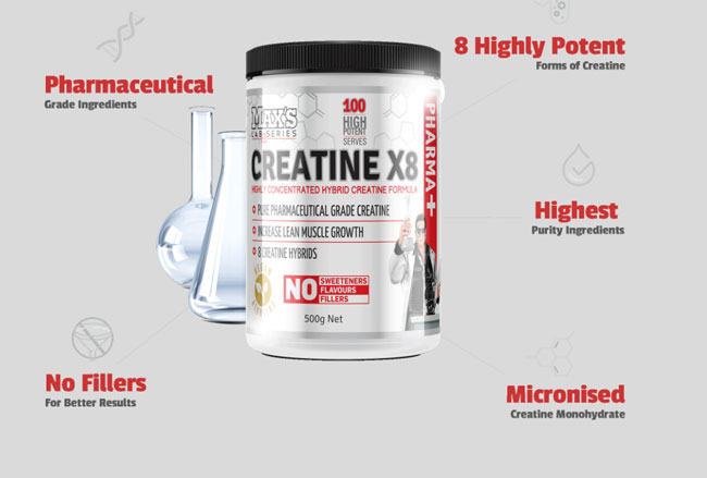 creatine surrounded by test tubes