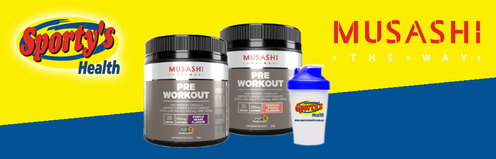 Musashi Pre Workout Containers