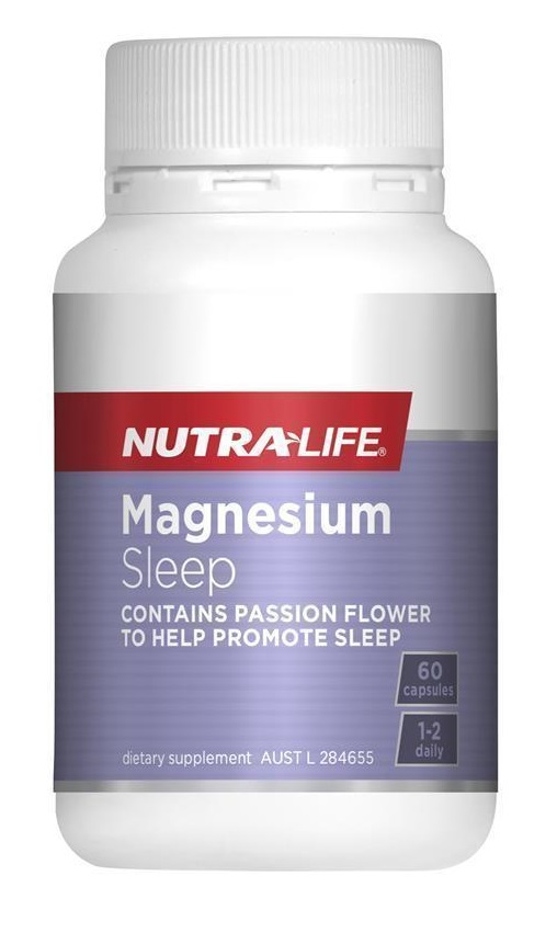 a purple and white bottle of NutraLife magnesium