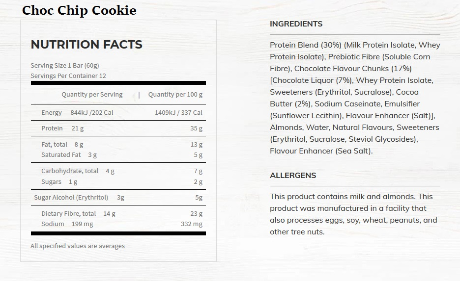 choc chip cookie nutritional information