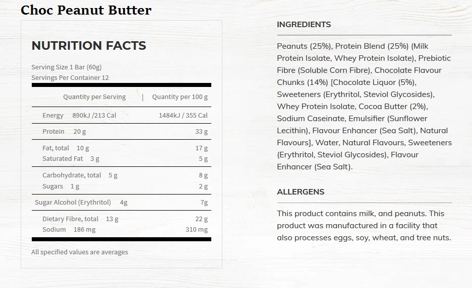 choc peanut butter nutritional information