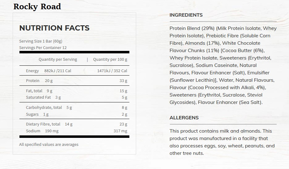 rocky road nutrtional information