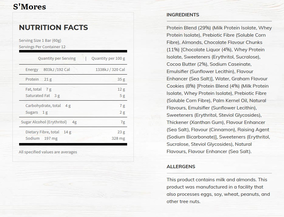 S'Mores Nutritional Information