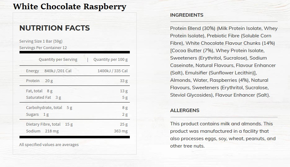 White Chocolate raspberry Nutritional Information