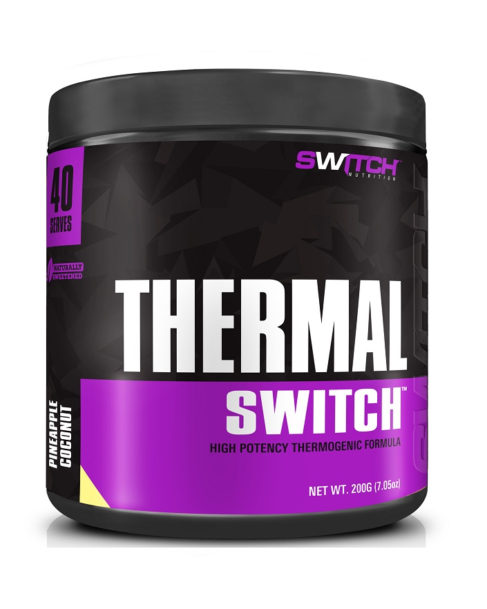 a black and purple container of thermal switch