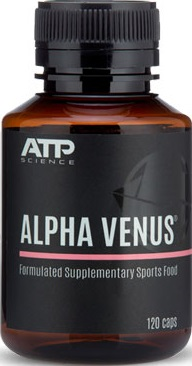 a black and pink bottle of ATP Science Alpha Venus