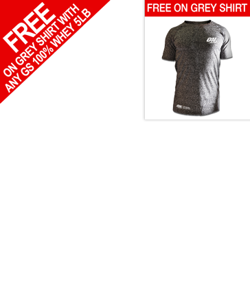 Optimum Nutrition Gold Standard Whey plus Free Grey ON Dry Fit shirt.