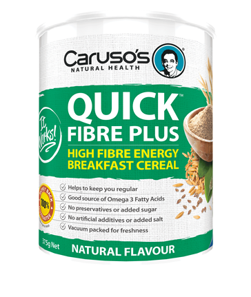 a green and white container of quick fibre plus