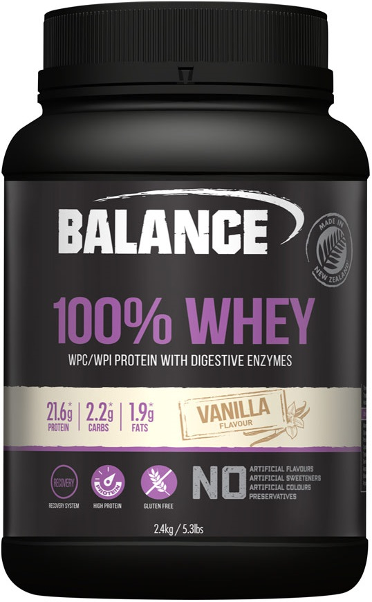 vanilla balance whey protein container