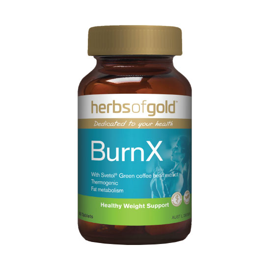 a bottle of herbs of gold burn X