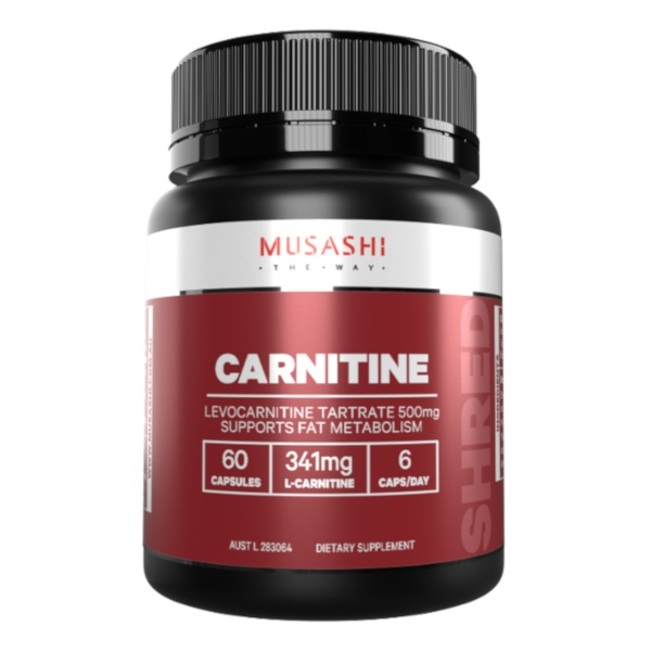 a container of musashi carnitine capsules
