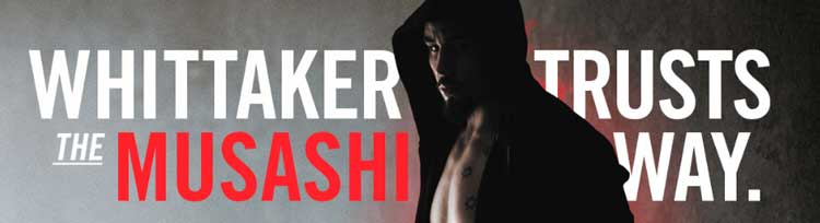 Musashi Logo with professional fighter looking moody and aggressive